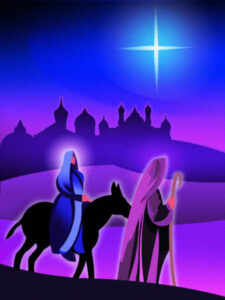 Mary and Joseph follow the star