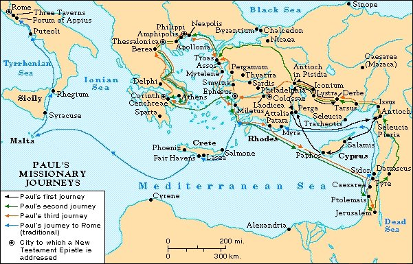 A map depicting Paul's path