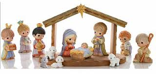 A Nativity scene made with precious moments