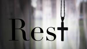 A picture with the crucifix as the T in rest