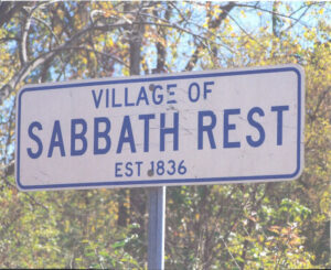 A sign for Sabbath Rest Village